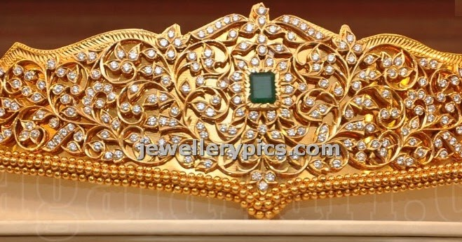 Malabar Gold Vaddanam Design With Uncut Diamonds Latest