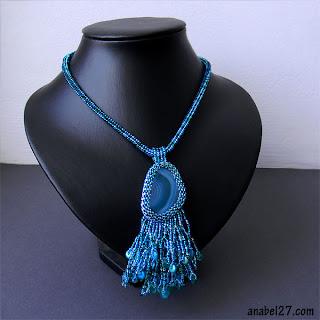 купить бирюзовый голубой кулон из бисера с агатом анабель