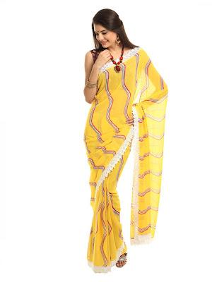 Vitrag Prints Women Yellow Fashion Sari images 1080 1440 mini