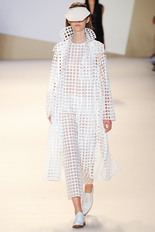 Akris SS 2015 White Squares Cutouts Trench Coat on Runway