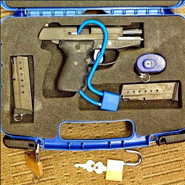 Unloaded firearm in hard-sided lockable case.