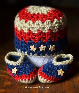 patriotic newborn beanie and booties