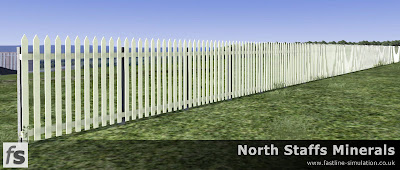 Fastline Simulation - Timber paled fencing with concrete posts.