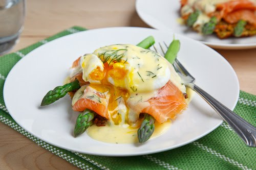 Smoked Salmon Asparagus Quinoa Cake Eggs Benedict