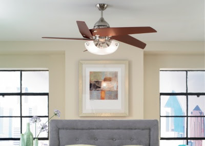 Monte Carlo 5STR52BS Star-Tech 52 Inch 5 Blade Ceiling Fan With Remote Brushed Steel With Mahogany Veneer Blades