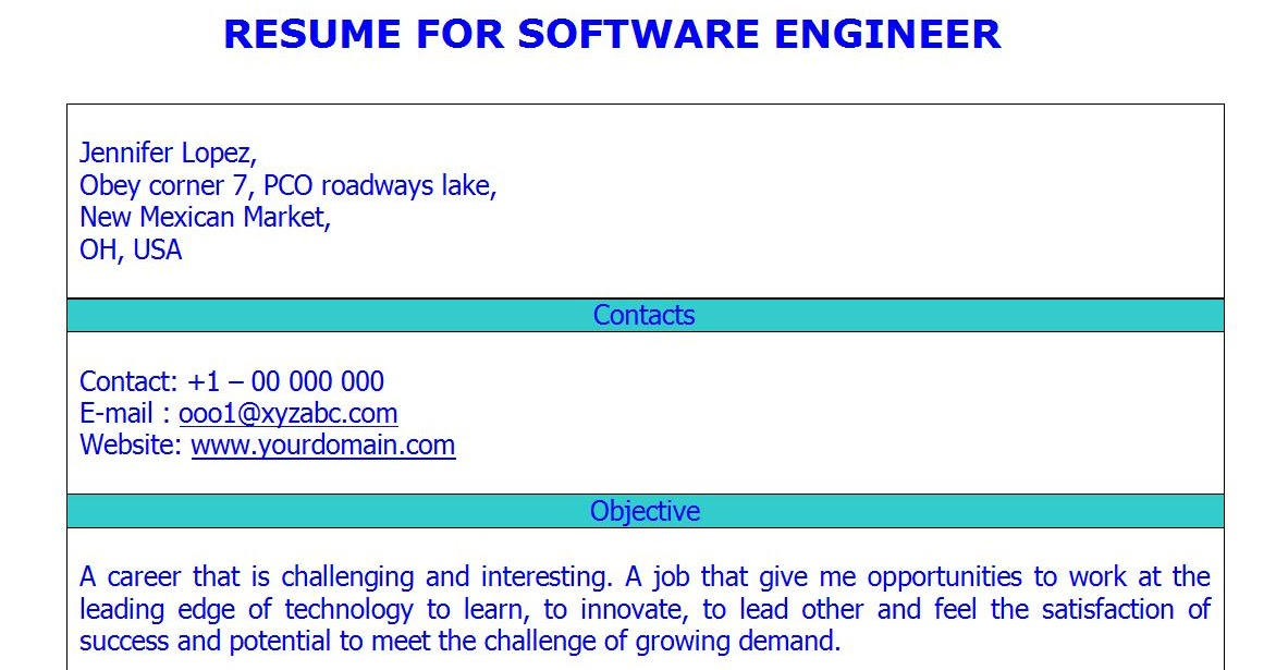 FRESH JOBS AND FREE RESUME SAMPLES FOR JOBS: CV for Software ...