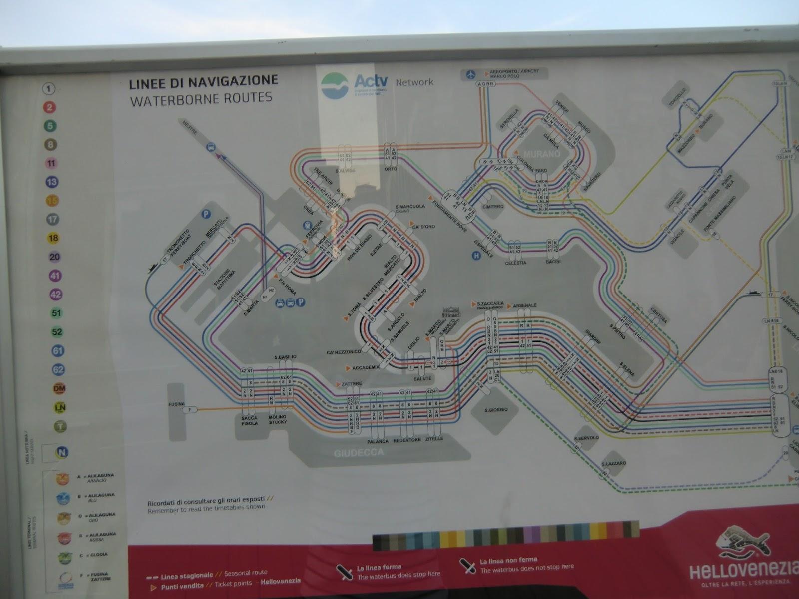 Схема водного транспорта в венеции