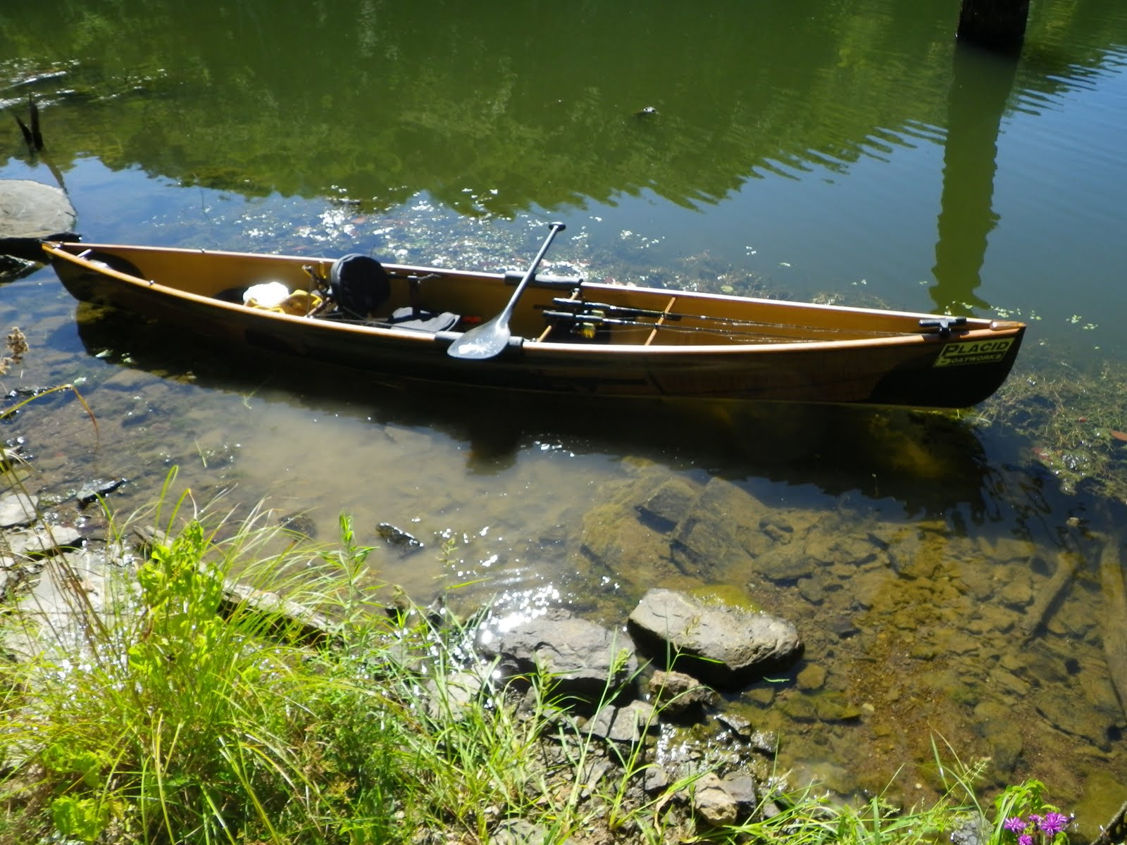 Placid boatworks rapidfire canoe rigged for fishing in wv for Fishing from a canoe