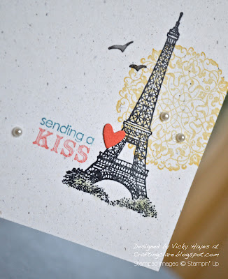 Close up of Eiffel Tower from the Artistic Etchings stamp set by Stampin' Up