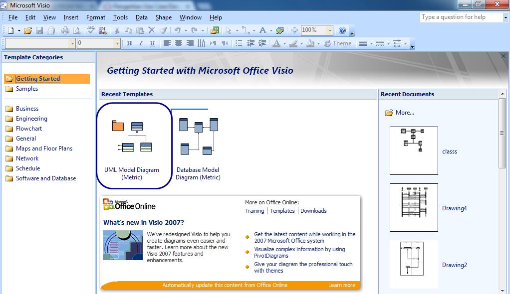 cara membuat use case diagram dengan visio 2007 cara