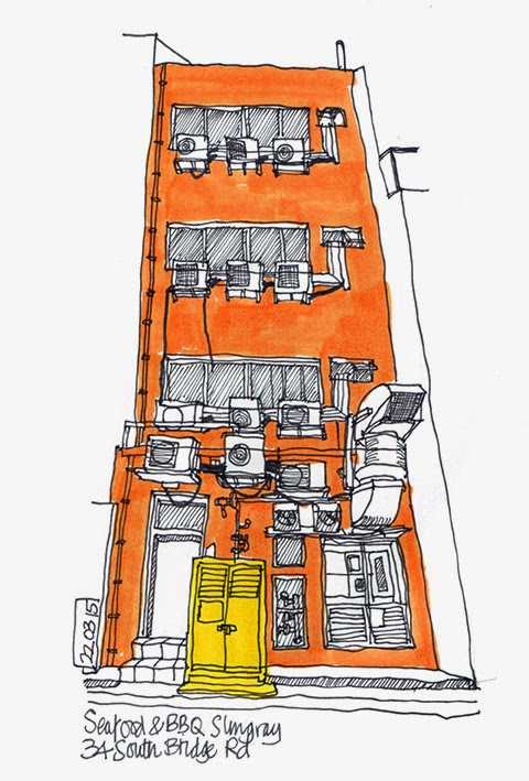 Singapore shophouse sketch (rear)