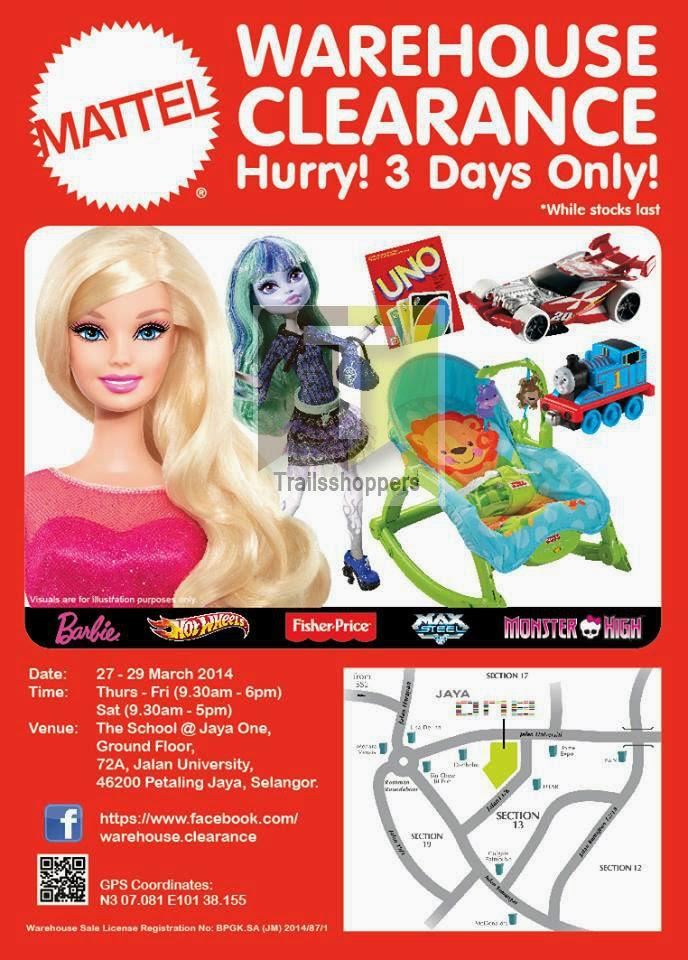 Mattel Warehouse Clearance Sale Jaya One PJ Selangor Barbie Fisher Price