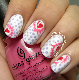 grillednails nail art february hearts nails pop art manicure short nails cute