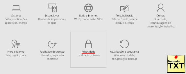 DominioTXT - Windows 10 Privacidade