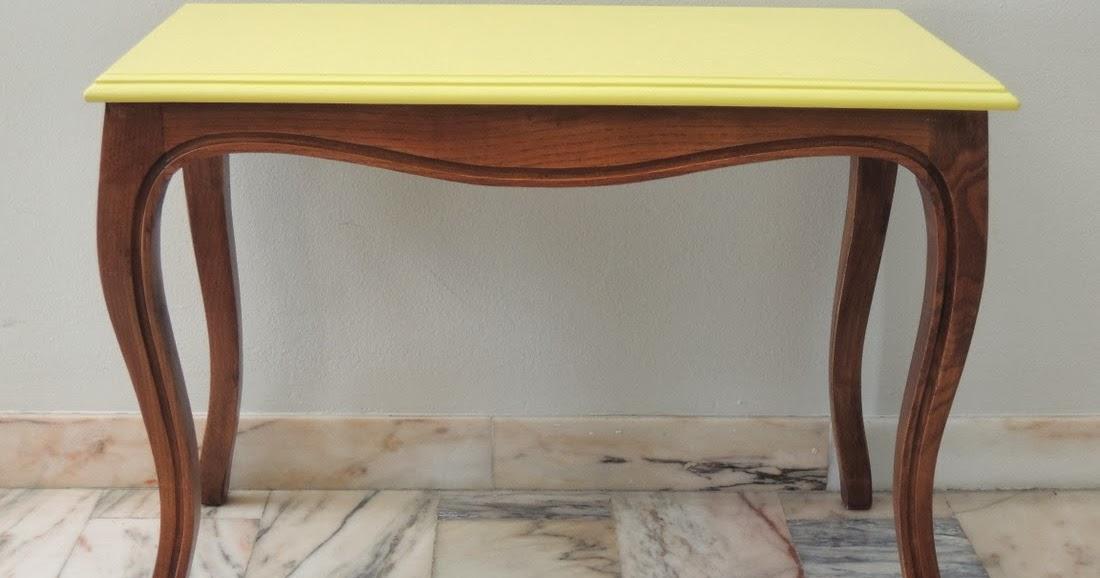 Rastro con encanto mesita auxiliar amarilla - Mesita auxiliar sofa ...