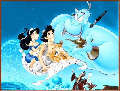online para colorir Aladdin and Yasmin