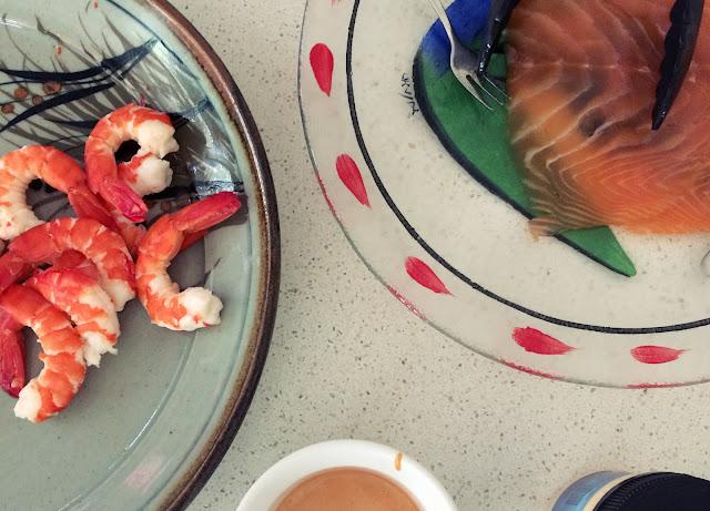 The most beautiful fresh smoked salmon and prawns, Australia