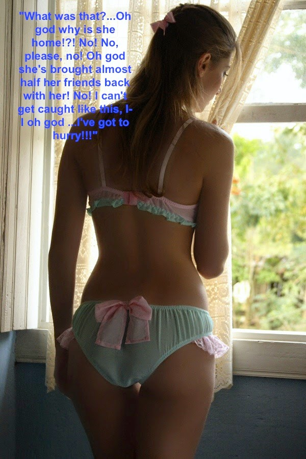 caught in bra and panties