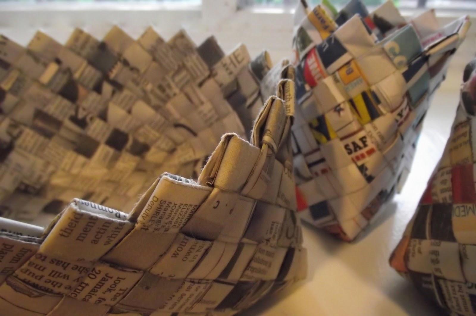 Basket Making Using Newspaper : Make it and use making woven newspaper baskets