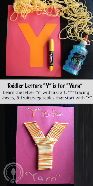 Toddler/Preshooler letter of the week craft Y is for Yarn with related craft, tracing sheets and fruits/vegetables.