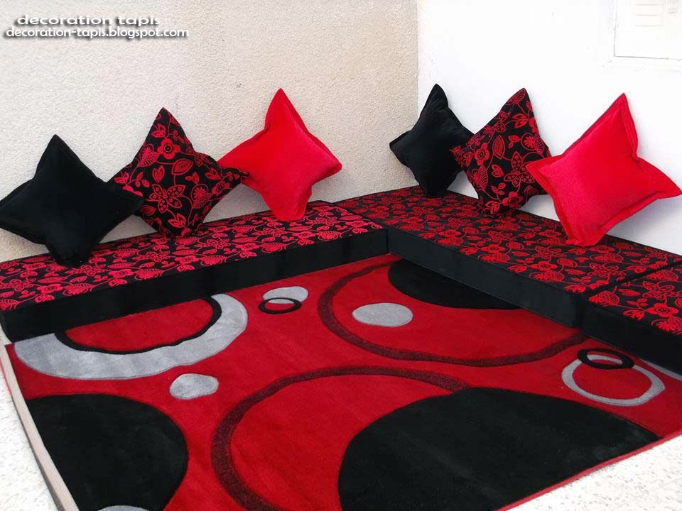 Tapis salon rouge d coration tapis - Tapis de salon rouge ...