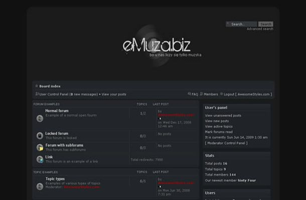Free Dark Black Music Php-fusion Theme Template