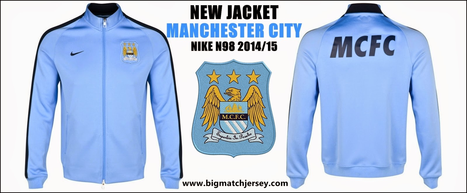 NEW MANCHESTER CITY AUTHENTIC N98 JACKET TRAINING BLUE 2015