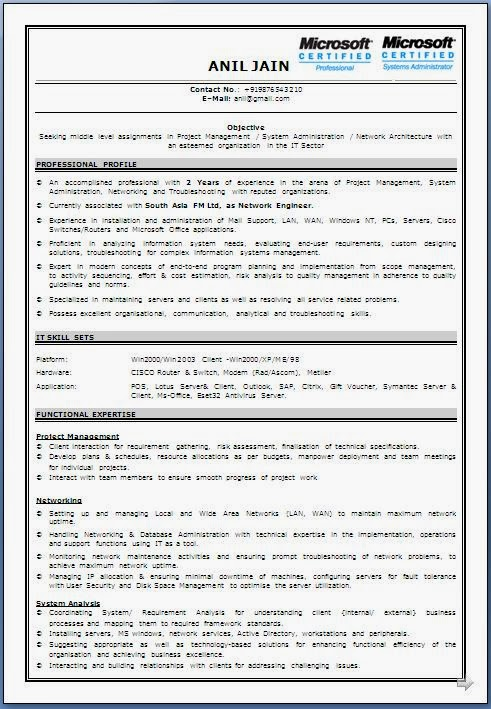 ... Cv Format For Network Engineer. Updated: ...