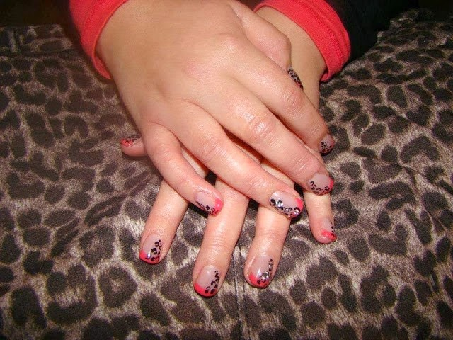 Color coral and a leopard print clear acrylic extensions Gel-color LED polish French color tip