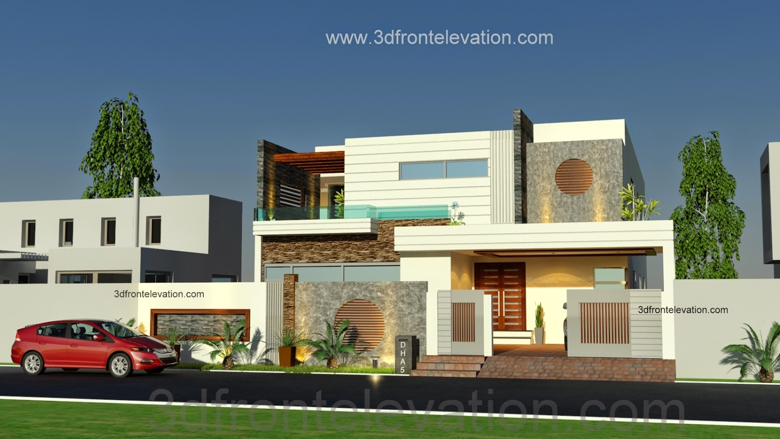 3d Front 1 Kanal Beautiful Modern House Plan And 3d Front Elevation Dha Lahore