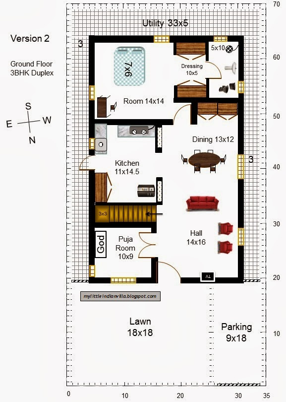My Little Indian Villa 14 R7 Duplex House In 35x70 North Facing Requested Plan