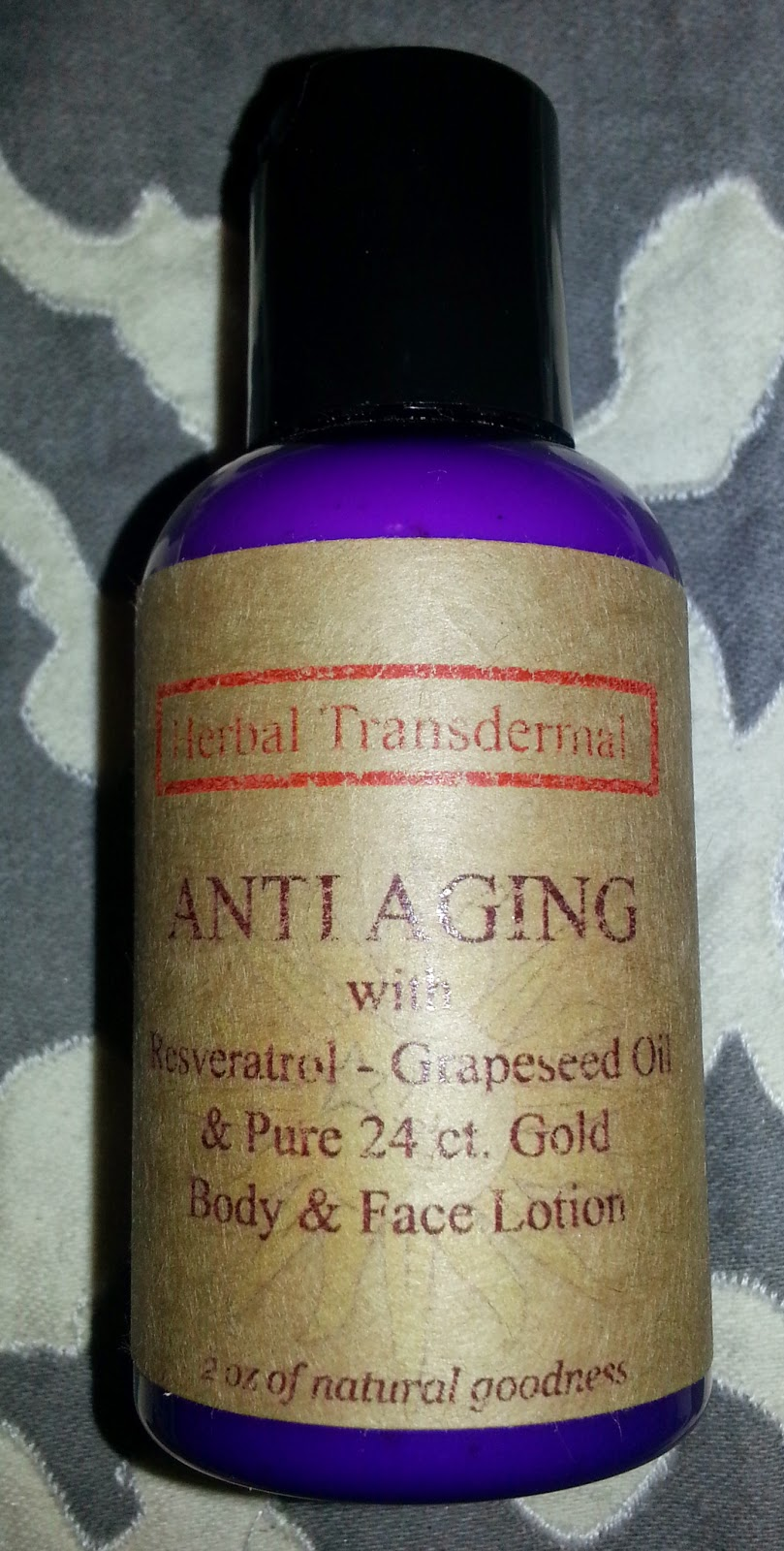 Anti Aging Body and Face Lotion with Resveratol, Grapeseed Oil, and Pure 24 Ct Gold