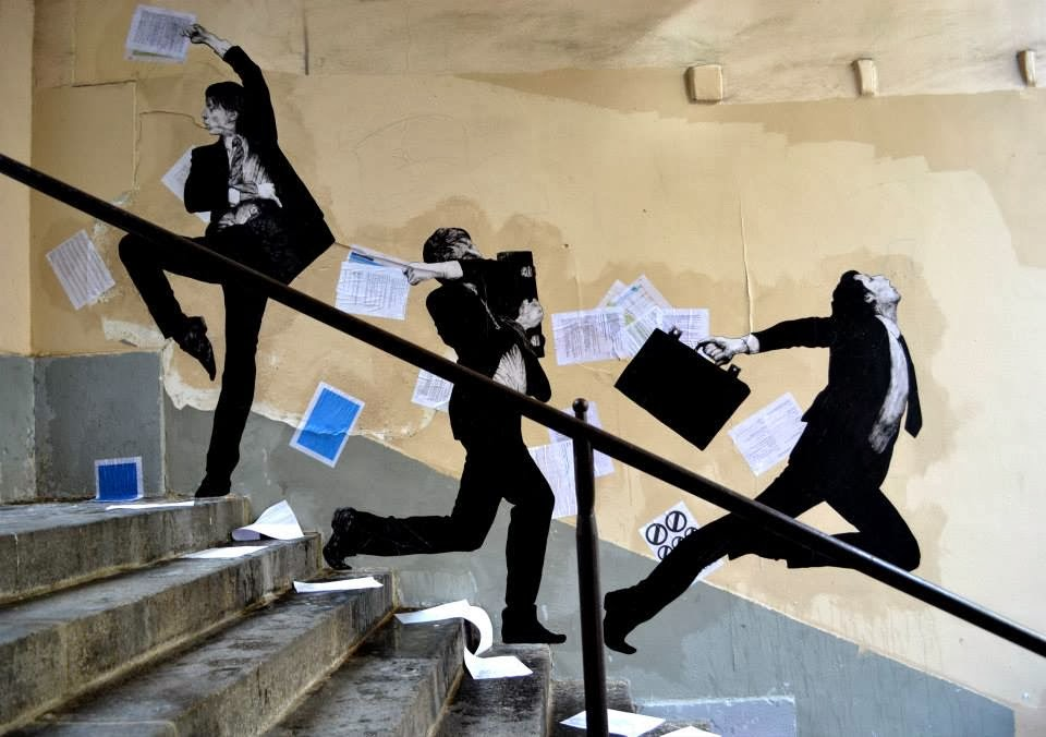 """Exploring the Fifth District of Paris, France, Levalet stumbled upon the perfect stairway to install his newest piece which is entitled """"Fly Away""""."""