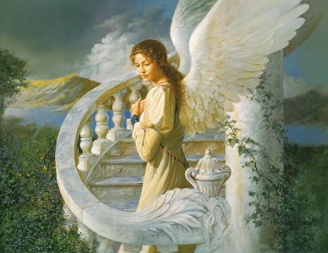 angel girl, angel painting, ed tadiello