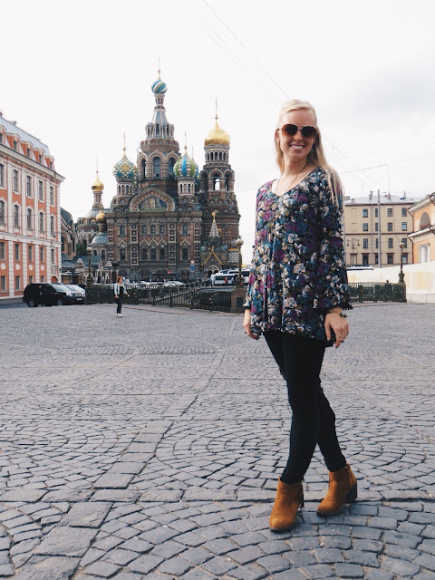 Oasap floral print dress with bell sleeves, Swallow's Heart jade stud earrings, AMI Clubwear fringe booties, boho outfit, bohemian outfit, travel outfit, st.petersburg, russia, hermitage, winter palace, church of the savior on spilled blood