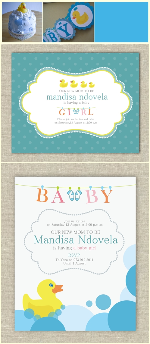 Loosh Creations Real Party Rubber Duck Baby Shower Invite