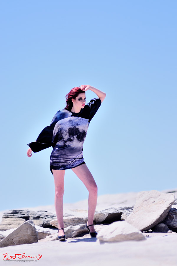 high Fashion on Location, Sarah Starkey moon dress,  Lunar Landscape, on location Kurnell Sydney.