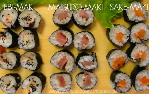 ebi-maki, Maguro-maki, Sake-maki