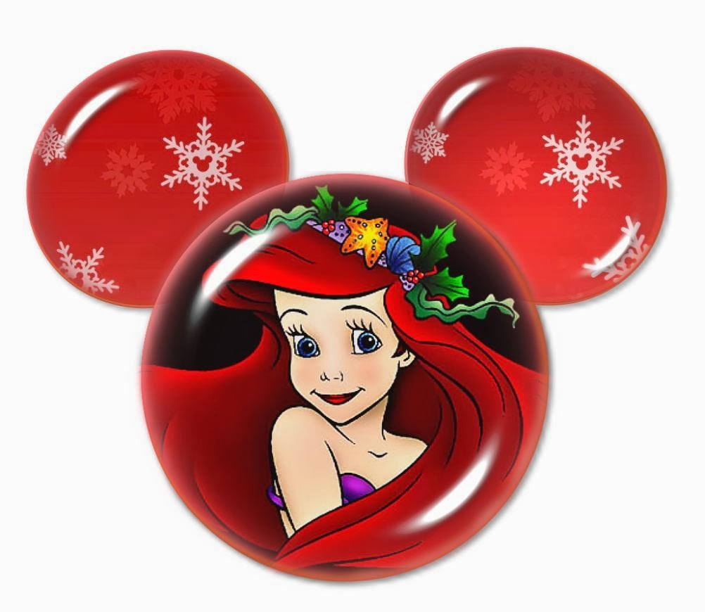Cute mickey head with disney princes special for christmas for Ariel christmas decoration