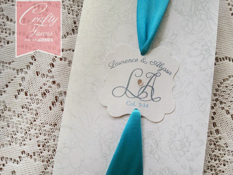 blue and white handmade wedding invitation card