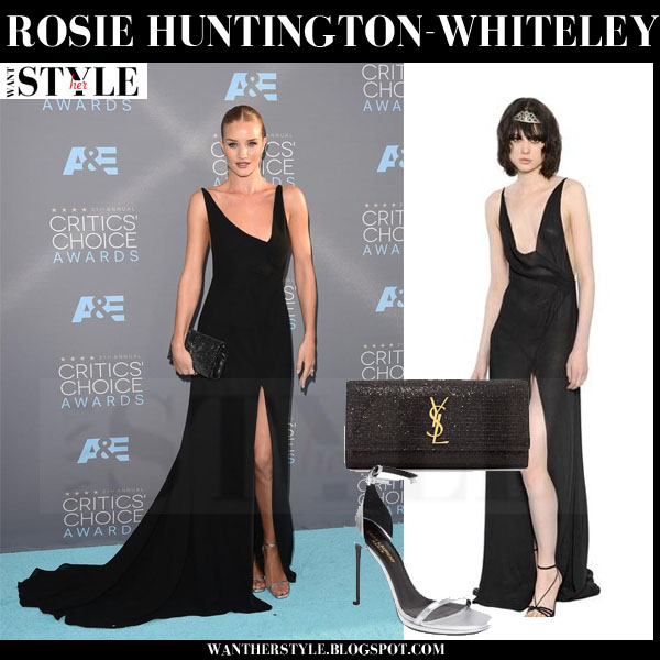 Rosie Huntington-Whiteley in black maxi dress from Saint Laurent critics choice awards red carpet what she wore