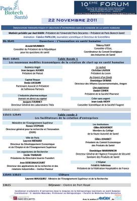 programme 10ème forum de Paris Biotech Santé Innovation thérapeutique et création d'entreprises dans le domaine de la santé humaine