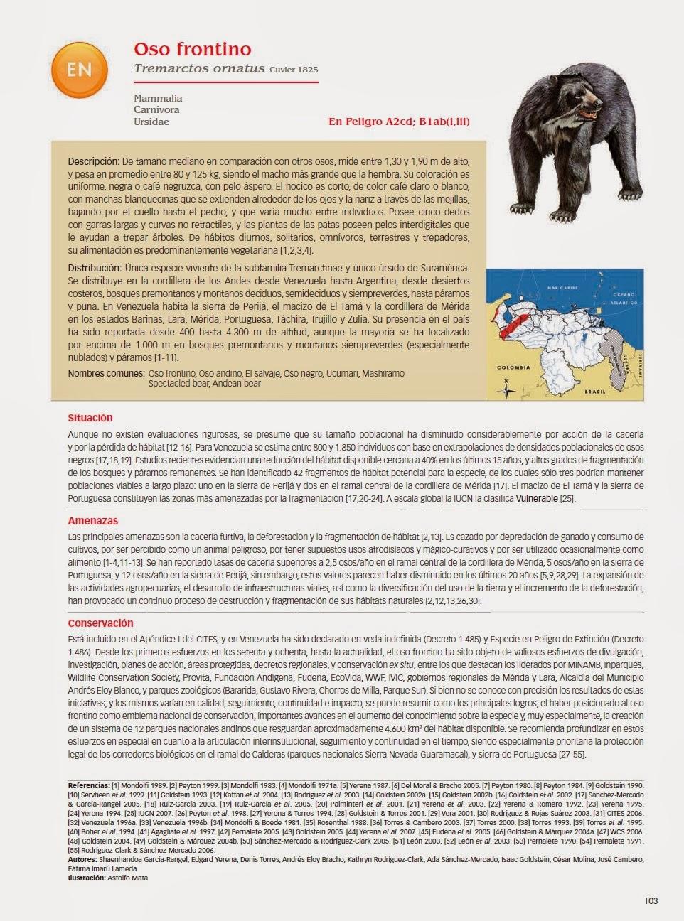 Ficha del Oso Andino en Libro Rojo de Venezuela.