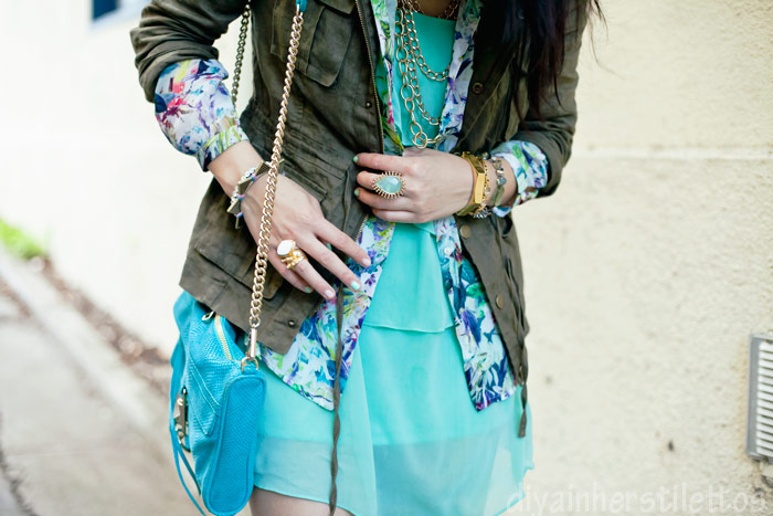 forever 21 military parka jacket, zara floral button up shirt, forever 21 mint chiffon dress, zara sandal heels, rebecca minkoff mac clutch, kendra scott ring, austin street style, austin fashion blog, texas style blog, diya liu