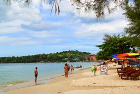 Sihanoukville city, beaches and harbor