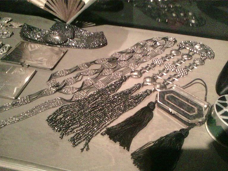 Vintage powder boxes beaded tassels and cut steel bead belt