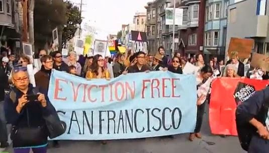Protesters in San Francisco target Google. (Screen capture from YouTube video)