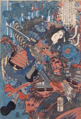 Kuniyoshi, Tomoye-gozen struggling with Musashi Saburoemon Arikuni, 1840