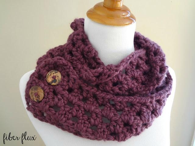 Fiber Flux Free Crochet Patternona Button Scarf