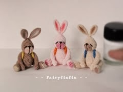 Crochet Tiny Rabbit Dolls: Height of doll 3.5 cm (Sit) - Made of 100 % cotton crochet thread
